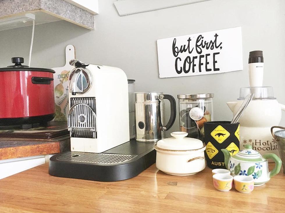 DIY coffee bar in a kitchen
