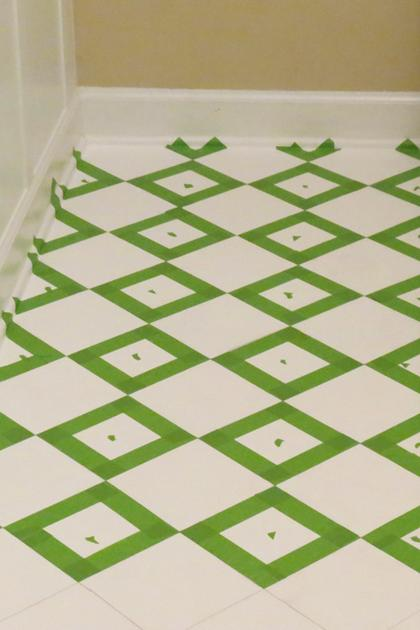 Painters tape creates checkerboard pattern on floors