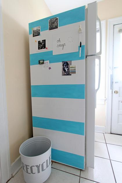 White and blue striped fridge panel