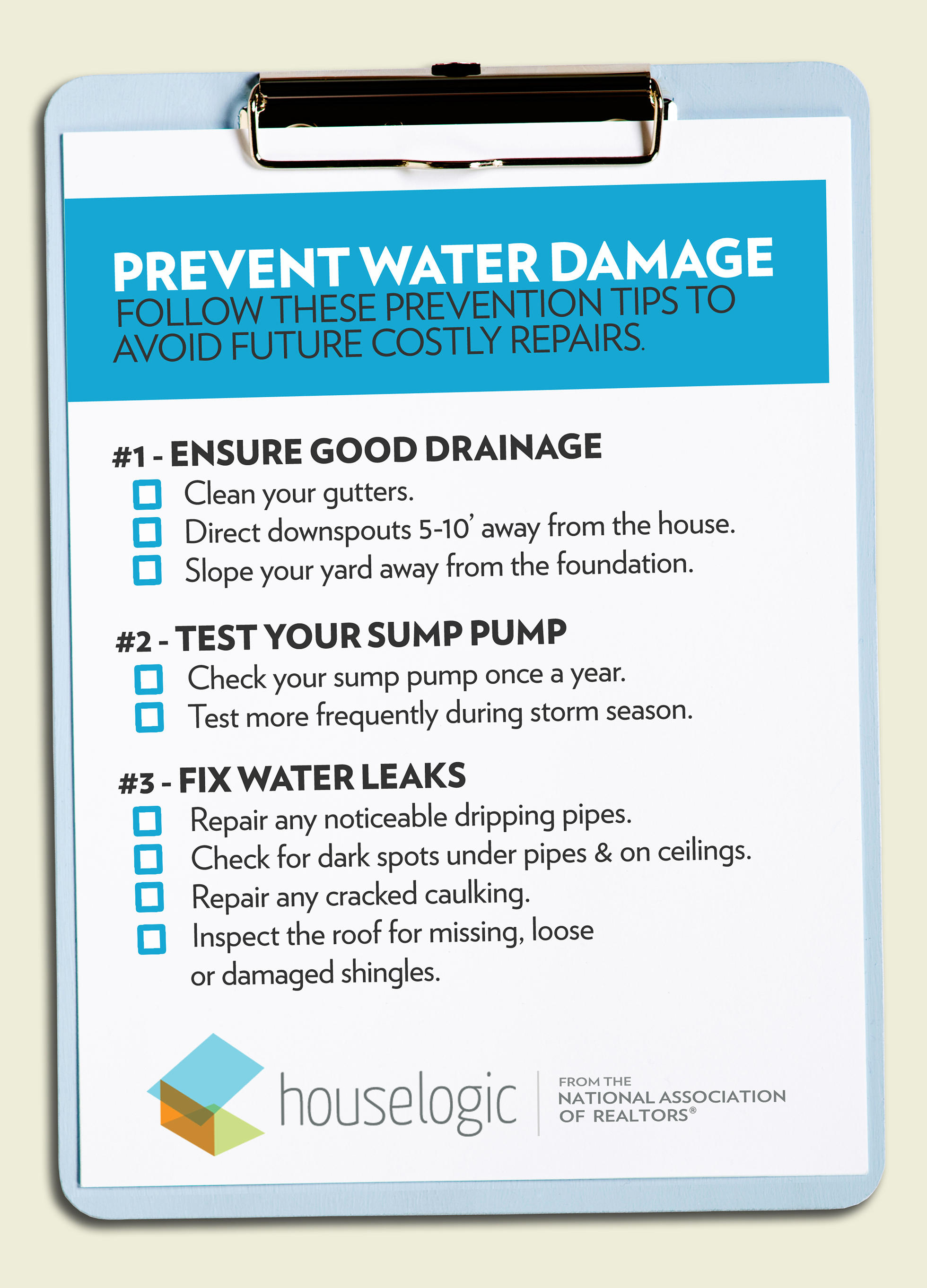 How to prevent water damage checklist