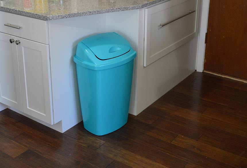 Cheery blue trash can