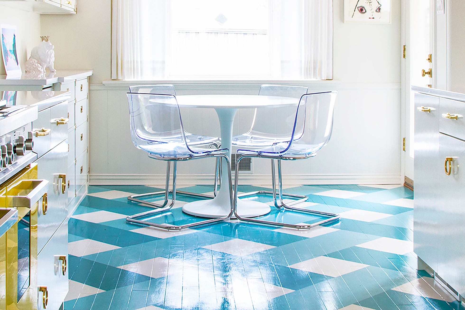 Blue and white checkerboard painted kitchen floor