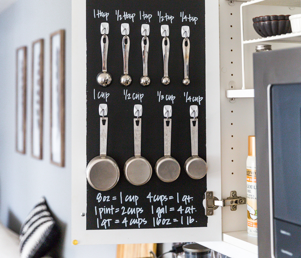A kitchen cabinet door painted with chalkboard paint