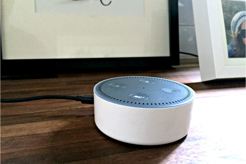 Amazon Echo Dot in a kitchen with wood countertops