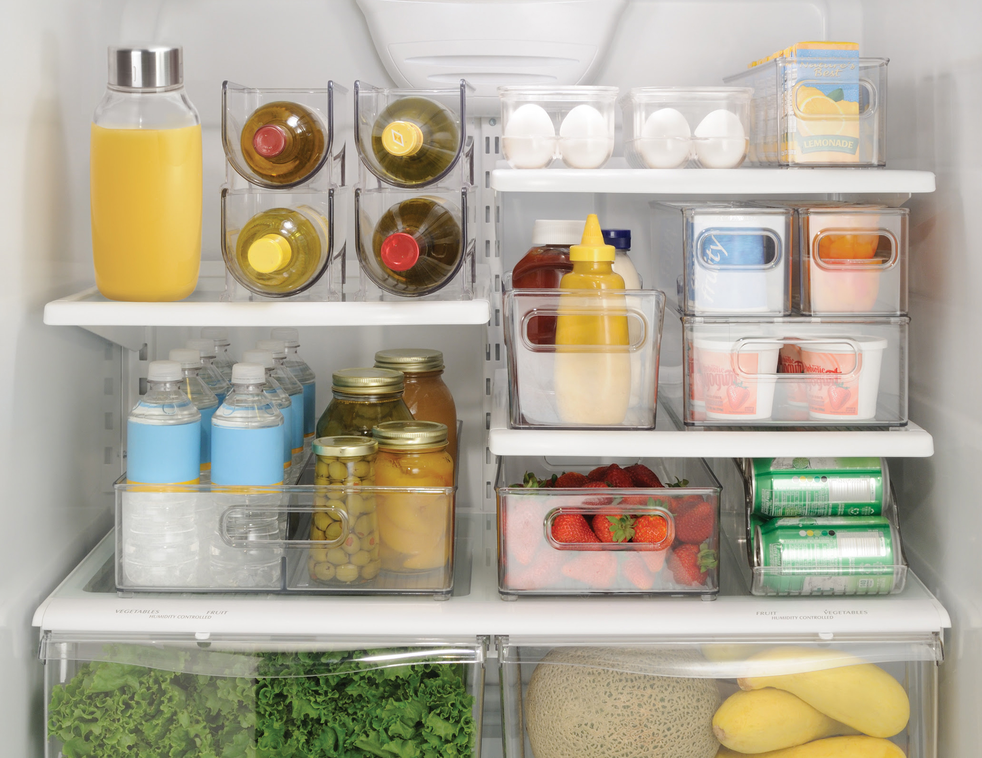 Clear organizers in a refrigerator