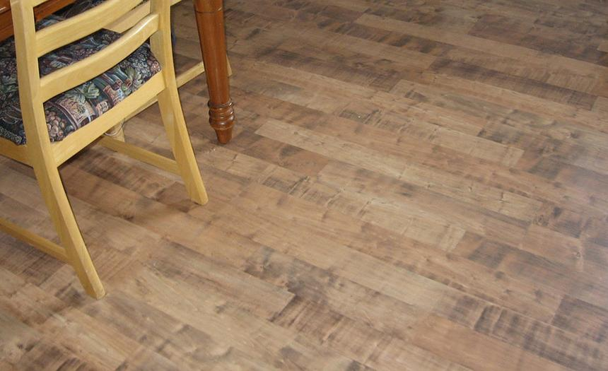Low-maintenance laminate plank flooring