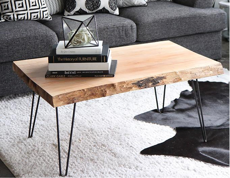 DIY wood coffee table in a living room