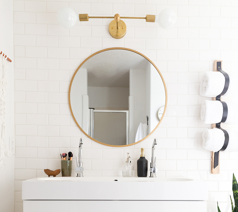 White vanity in a bathroom