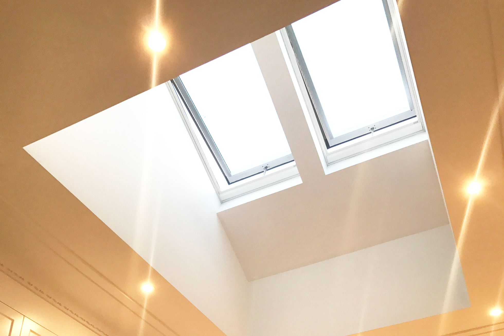 A skylight in a kitchen