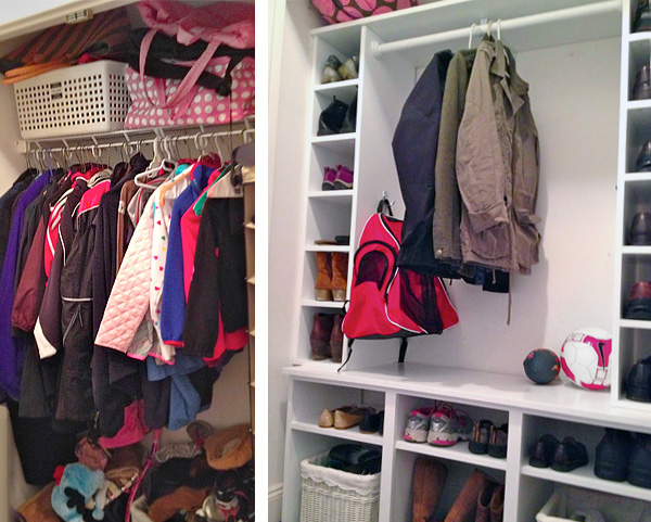 Closet turned in to mudroom cubbies