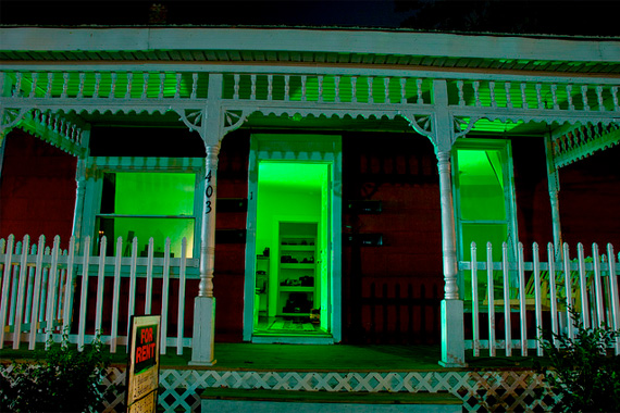 Monochromatic Green Lights | Outdoor Halloween Decorations