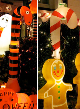 Repurposed Christmas Lights | Outdoor Halloween Decorations