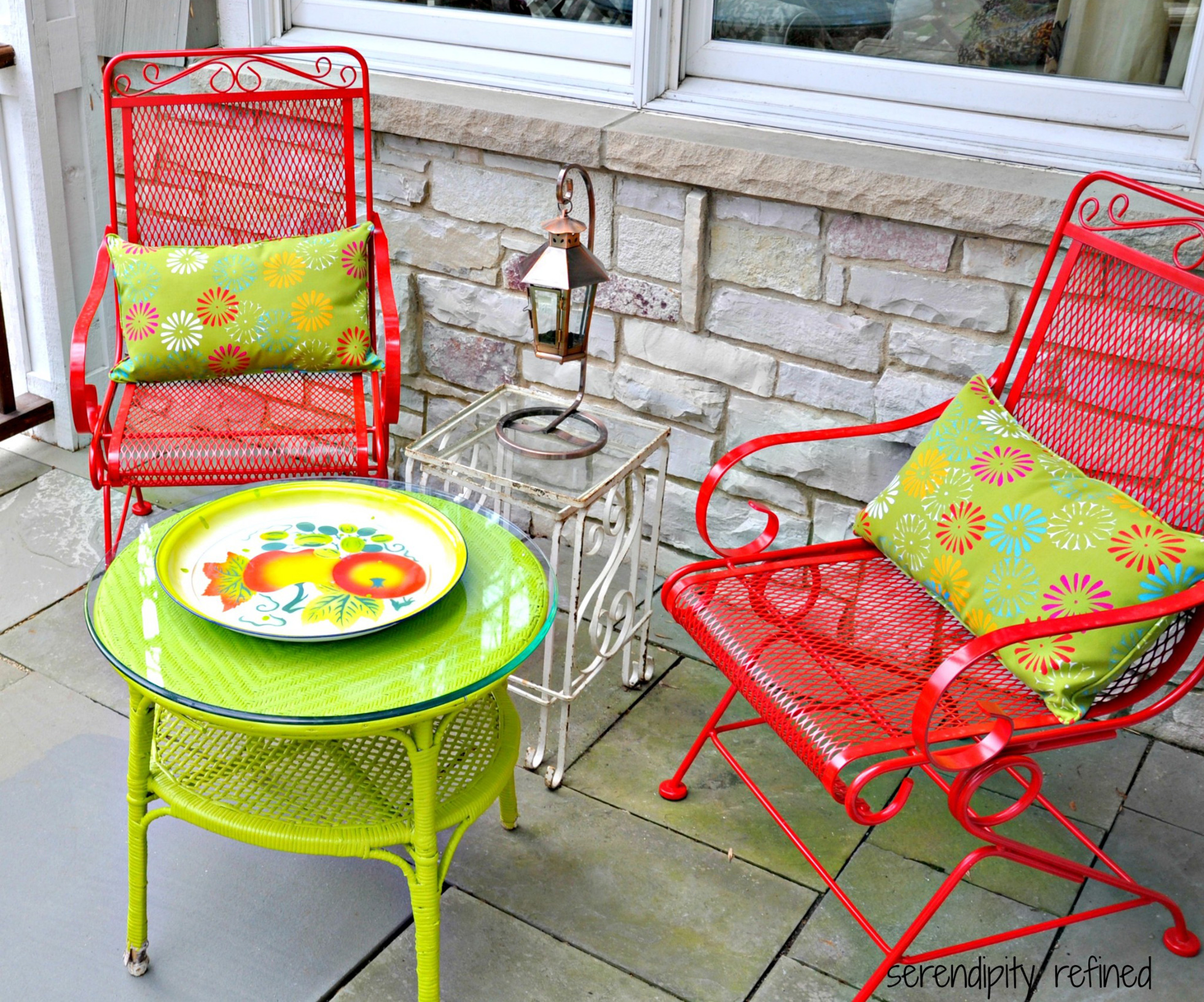 Bright red and green painted patio furniture