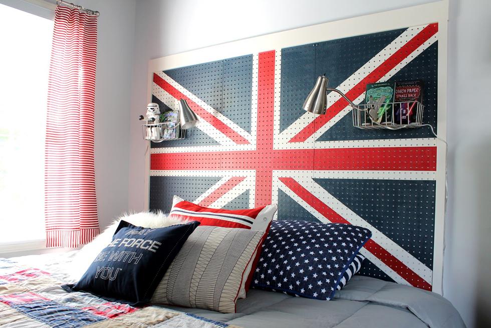 A Union Jack pegboard headboard in a bedroom