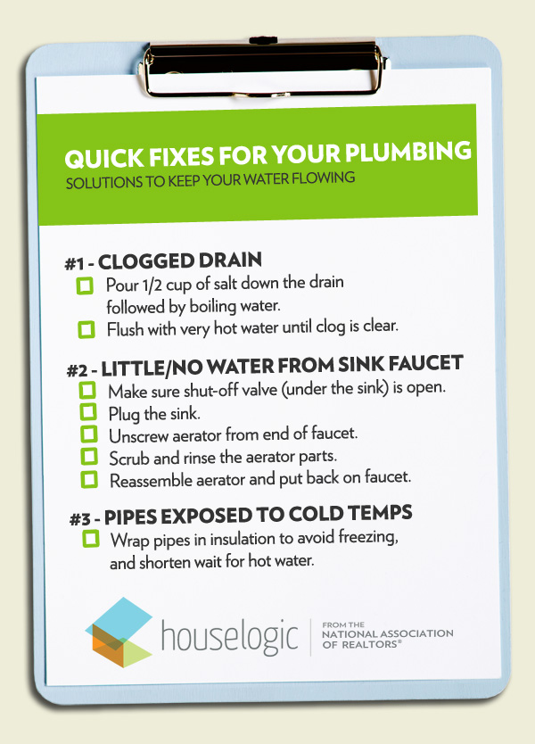 Quick fixes for your plumbing checklist