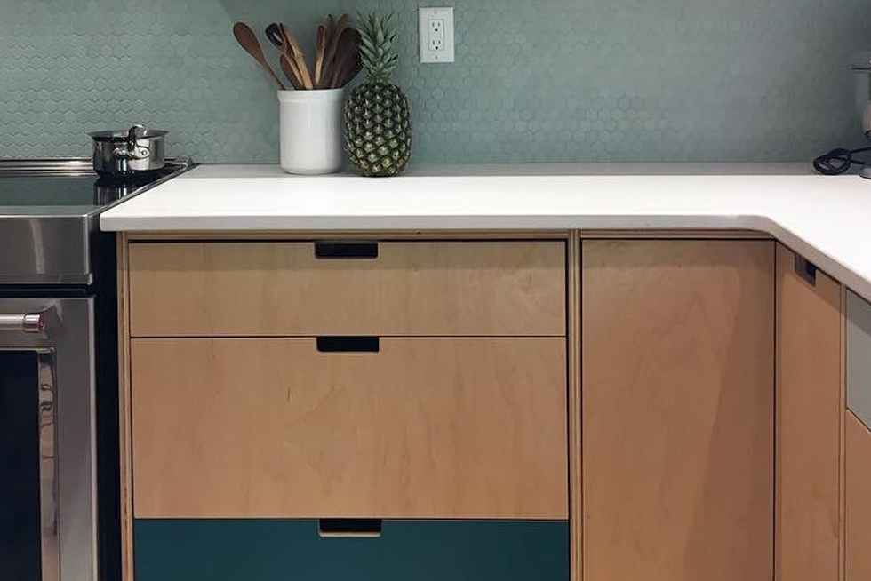 Plywood cabinets in a kitchen