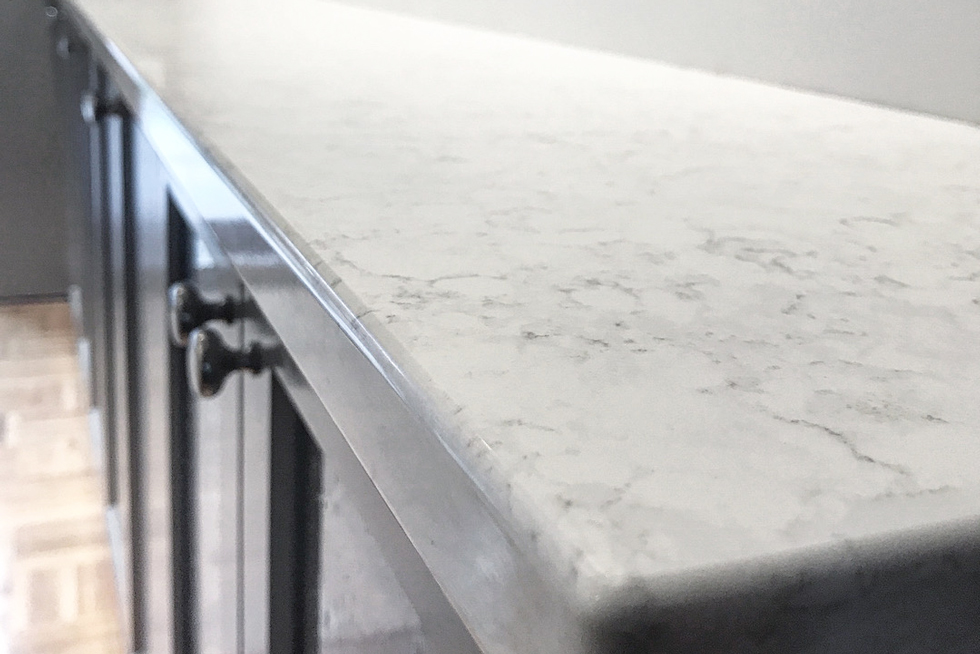 A close-up of silestone quartz countertop