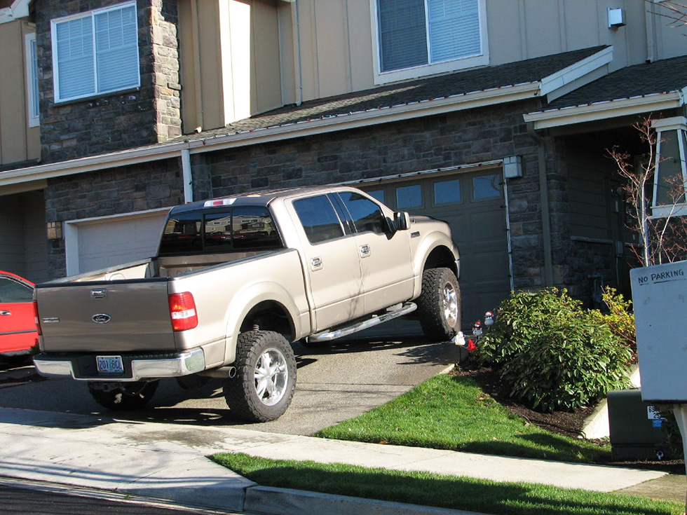 A truck that doesn't fit in a home's garage