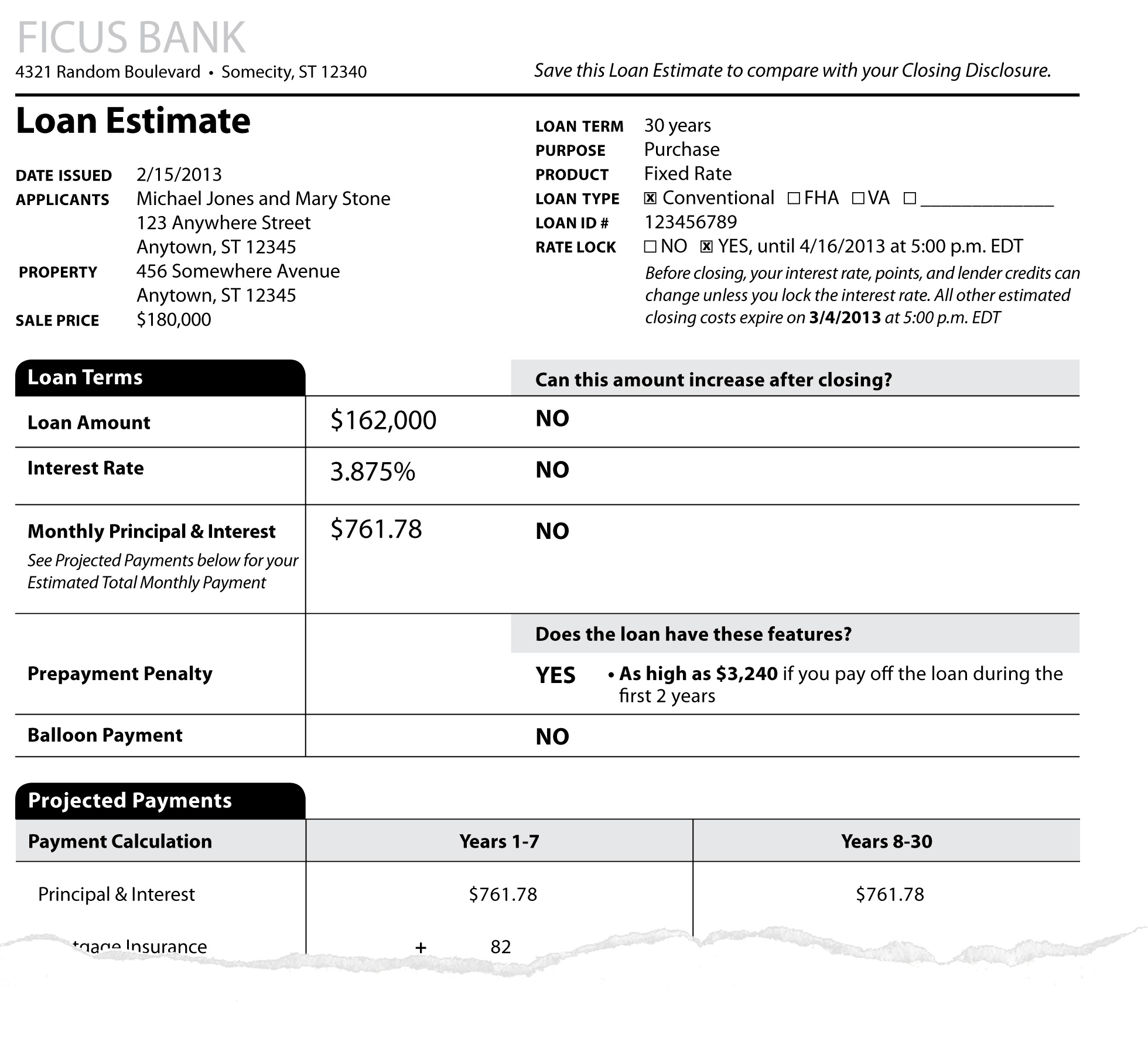 Sample loan estimate paperwork