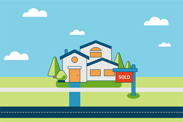 Vector illustration of different steps when home selling