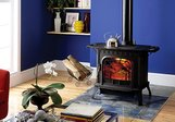 Blue wood-burning stove by Harman Stove Company