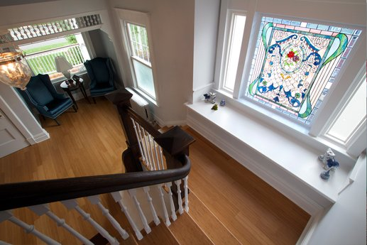 Historic home with stained glass window