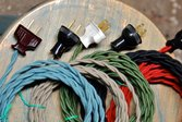Colorful cloth-covered electrical cords