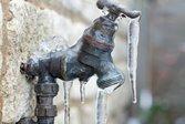 Frozen outdoor faucet
