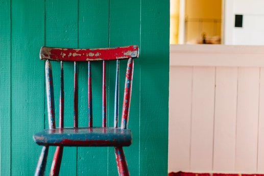 Painted chair in a room