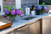 Outdoor kitchen counter and sink