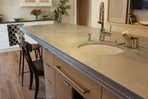 Zinc countertop in a kitchen with a fancy edge