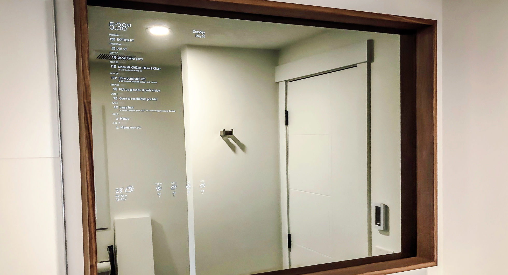 Smart mirror in a home bathroom