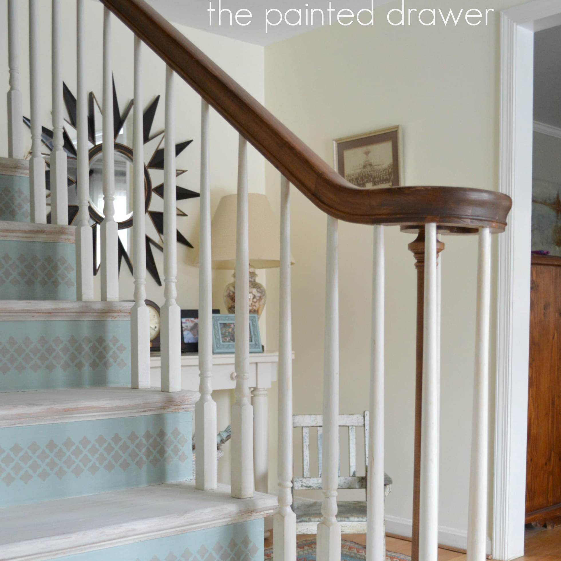 Gray and light blue chalk painted staircase