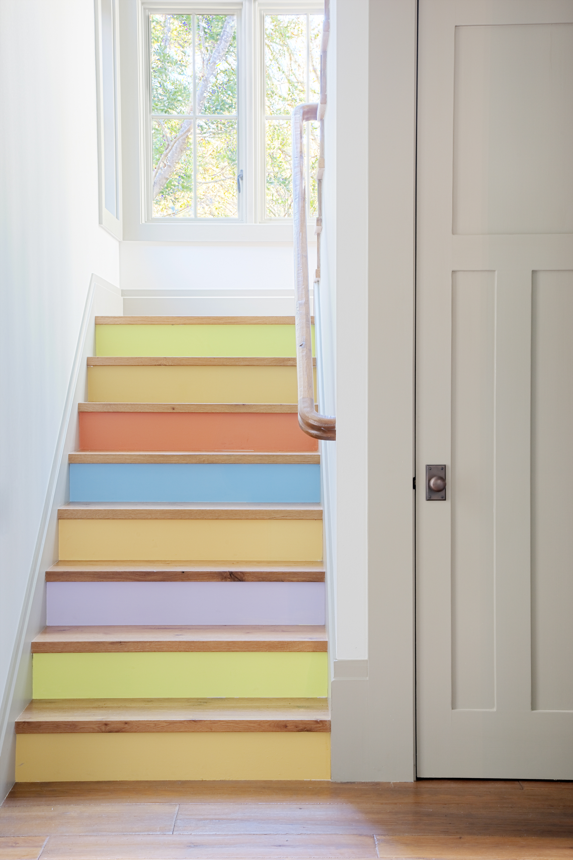 Pastel-painted rainbow stairs