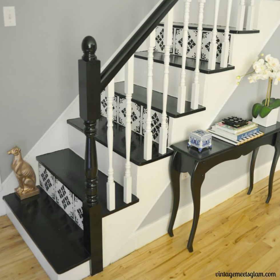 A black and white stenciled staircase