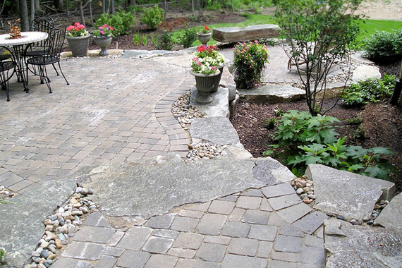 Stone Patio Design Ideas paving stone patio design ideas paver stone ideas Patio Made With Mixed Stone Materials Stone Patio Ideas