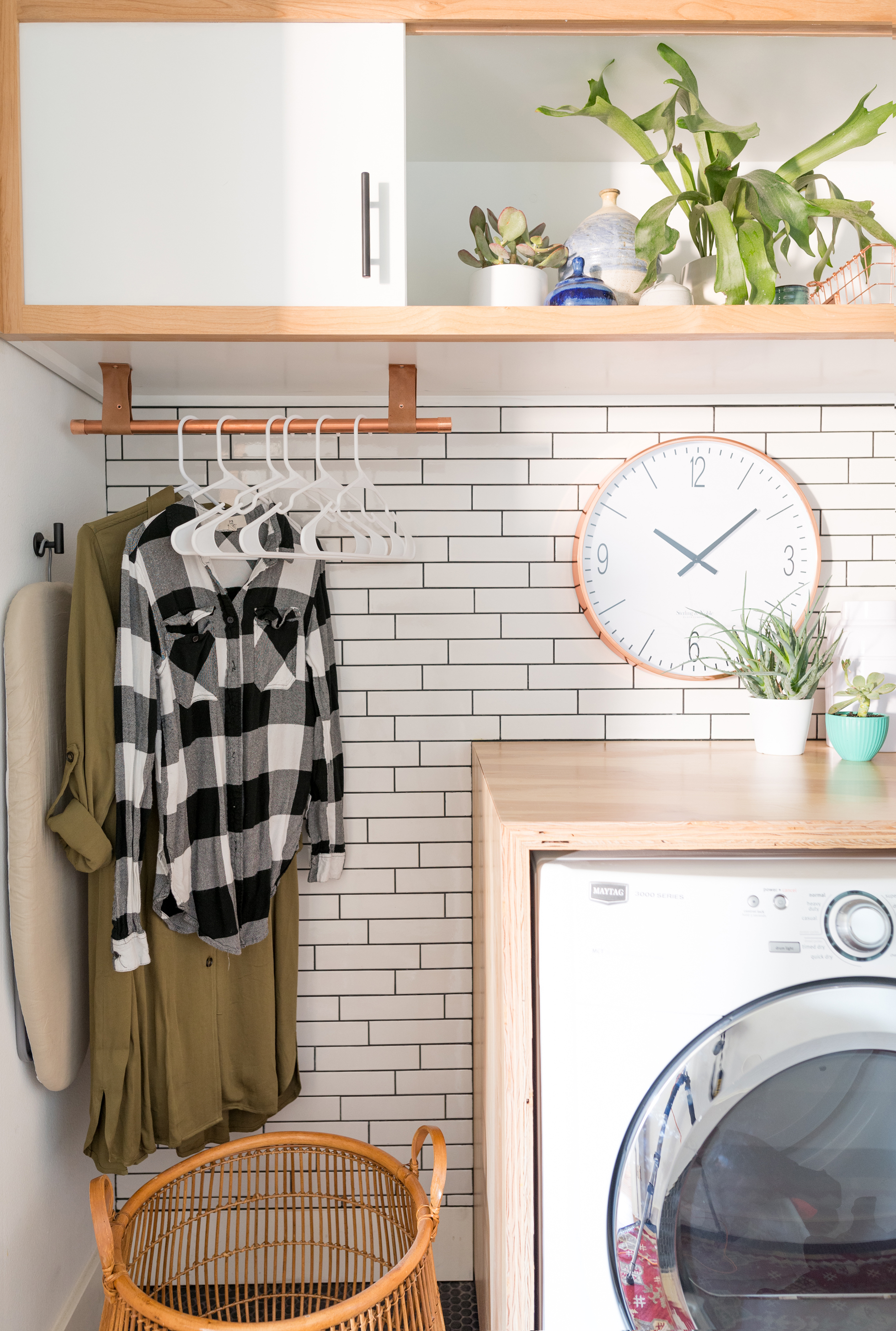 Subway tile used in a laundry room