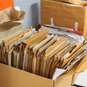 Tax papers stored in a home office
