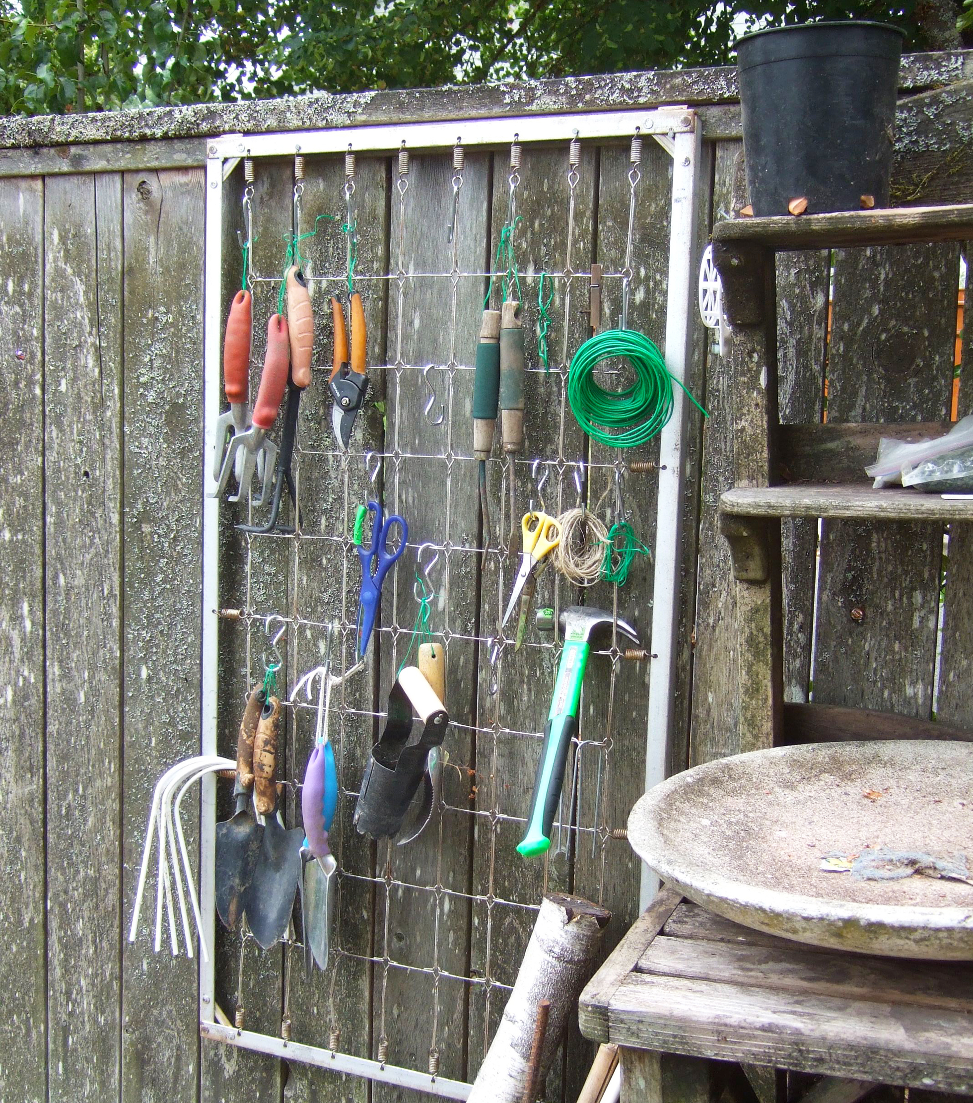 Upcycled garden tool organizer