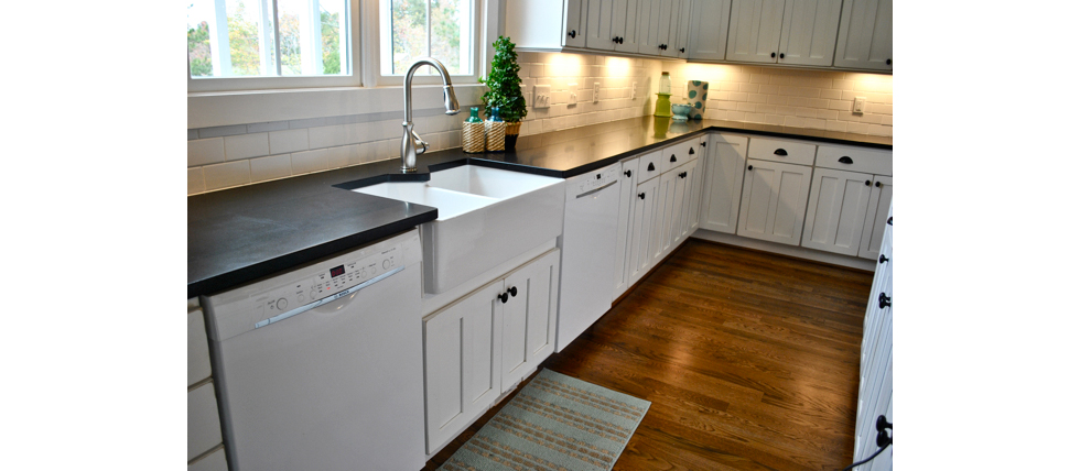 Kitchen with honed marble counters