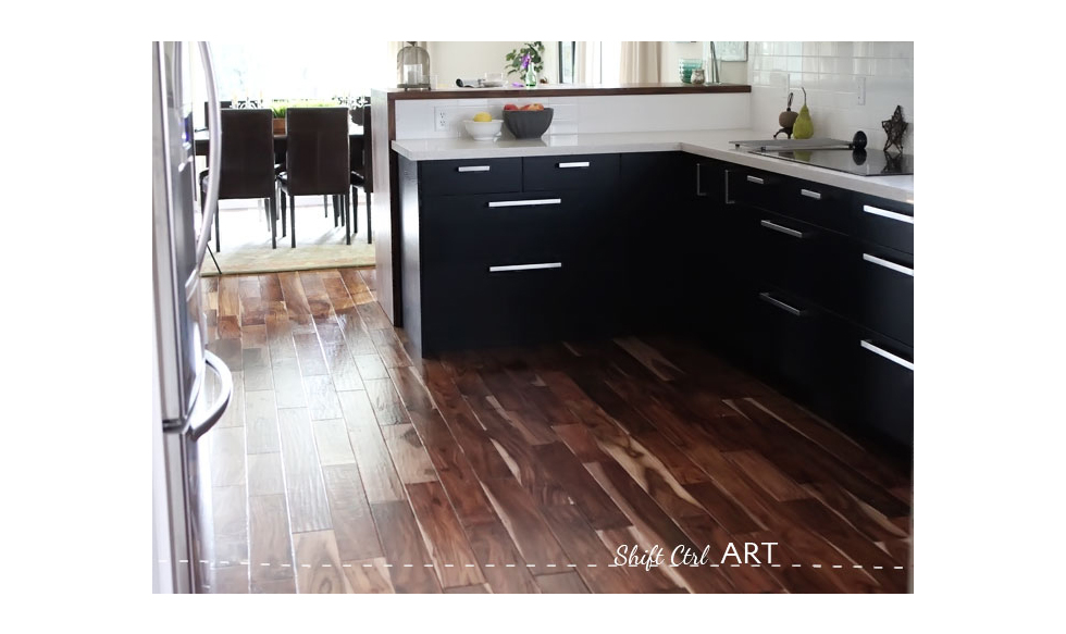 Transitional kitchen with a dark wood floor