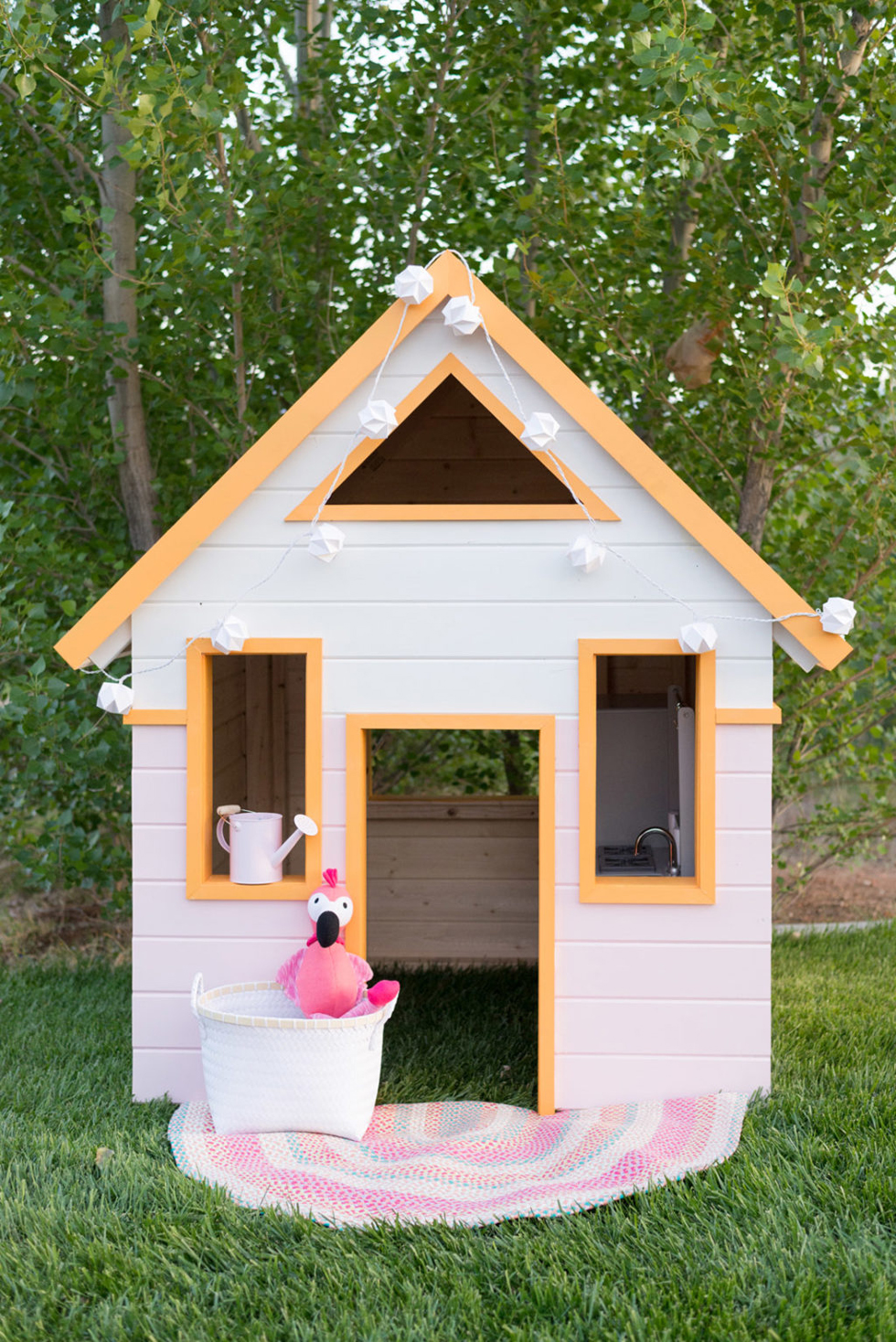 Children's playhouse painted pink