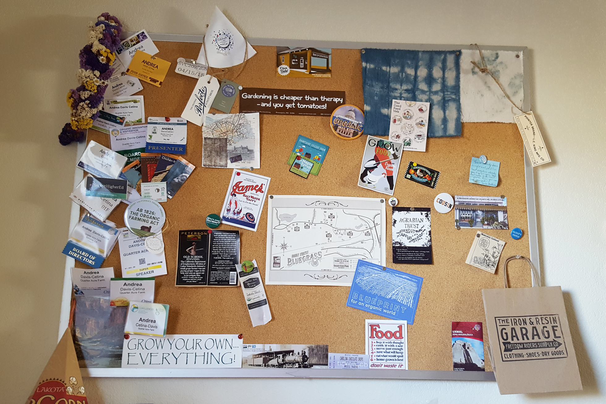 Bulletin board with stickers, motivational messages