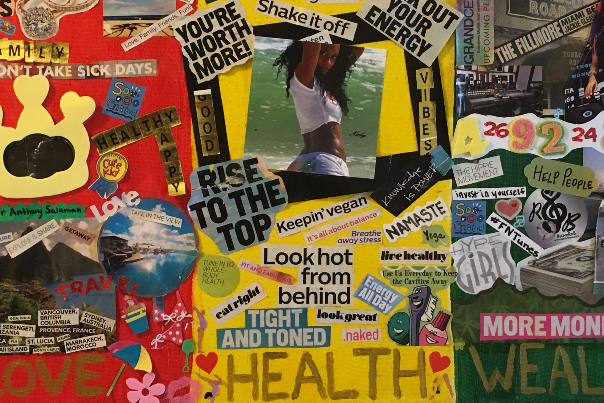 Reggae-themed inspiration board with motivational messages