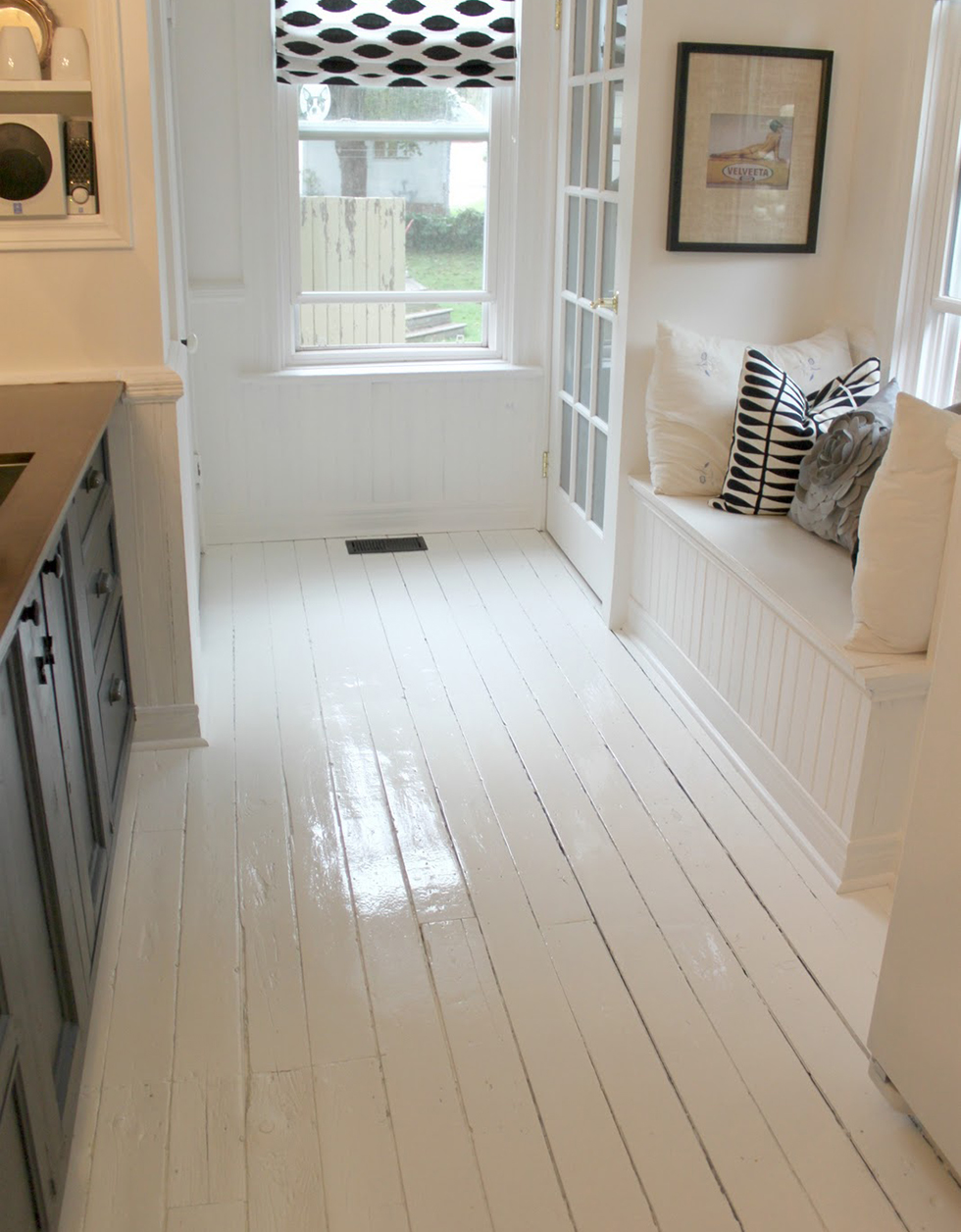 White painted kitchen floor