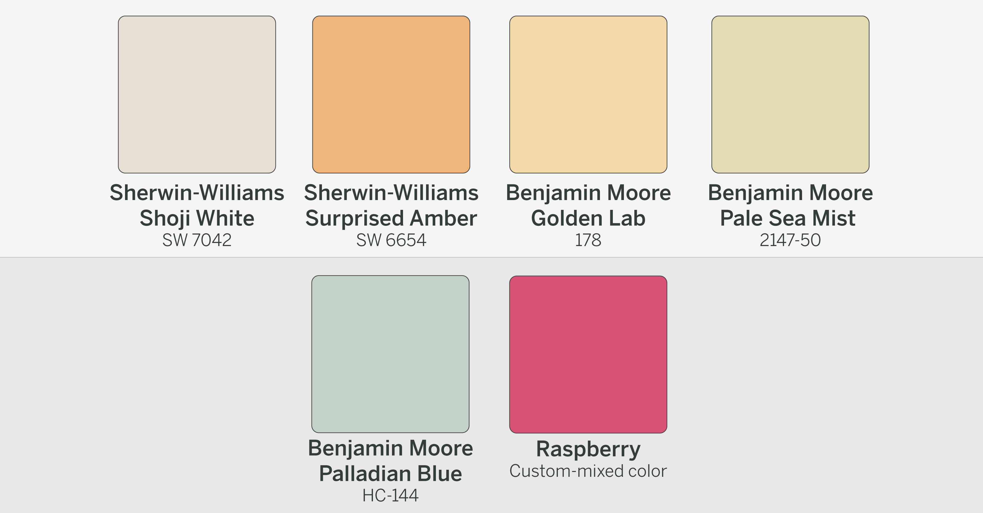 Paint color palette used by color expert Maria Killam