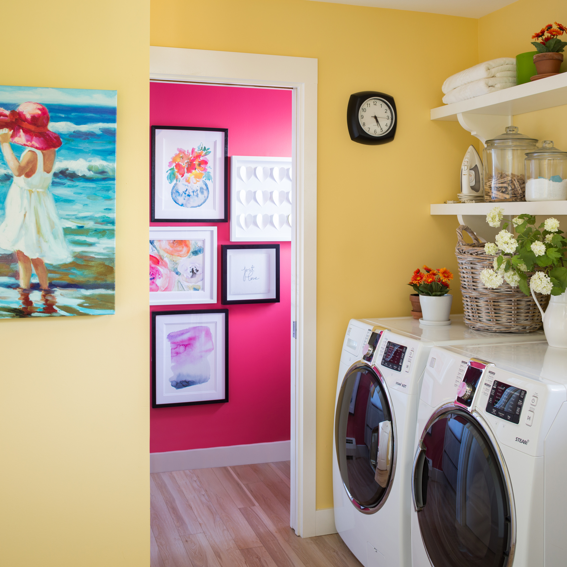 A yellow-painted laundry room