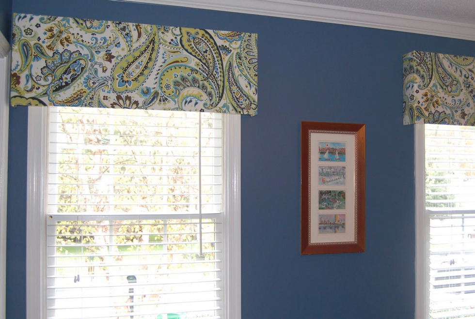 Paisley cornice window treatments in a home