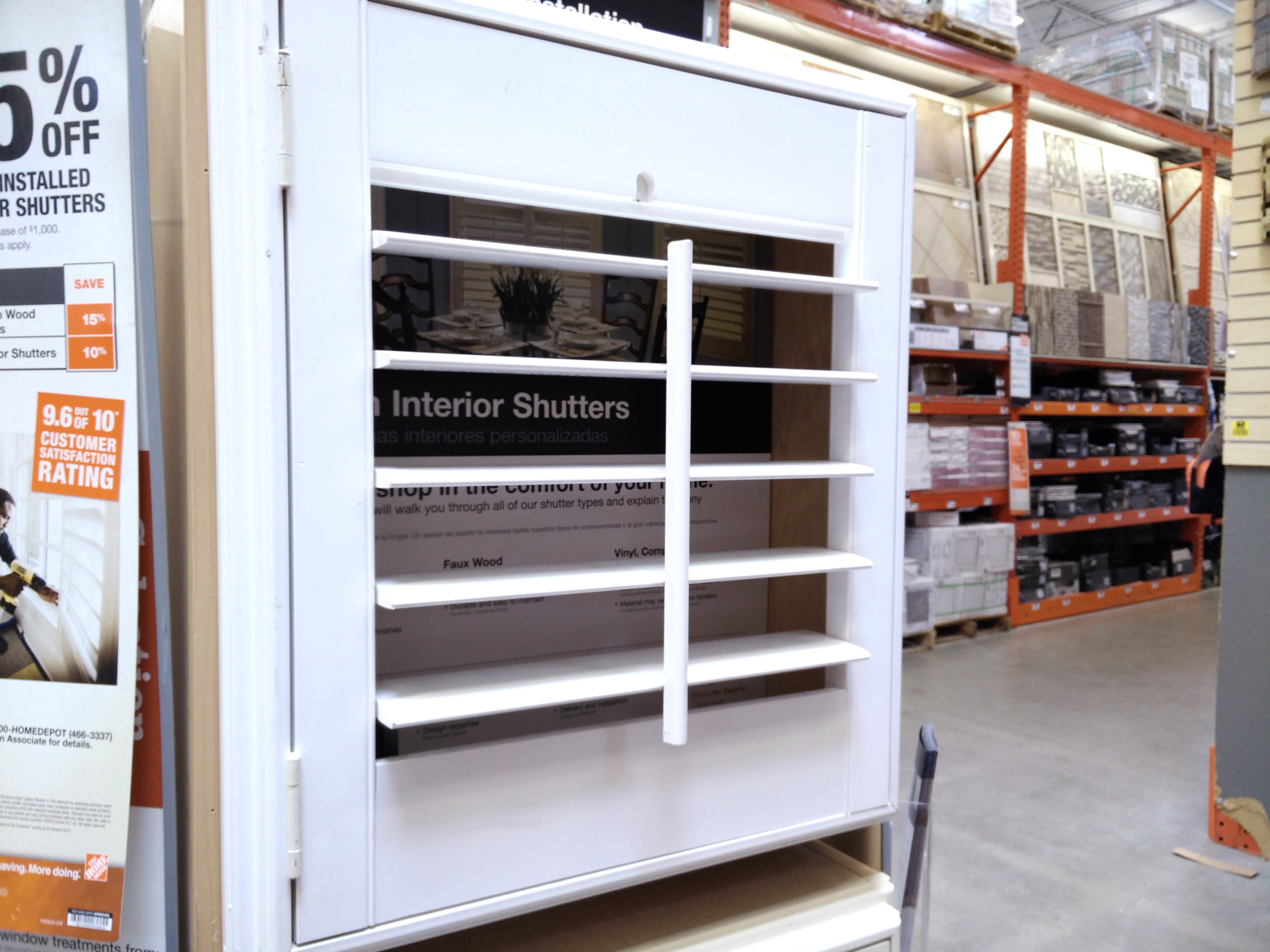 Louvered shutters displayed at a home improvement store