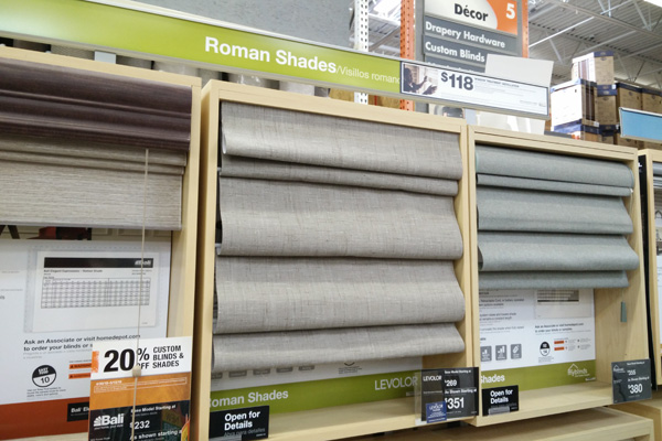 Roman shades for sale in a store
